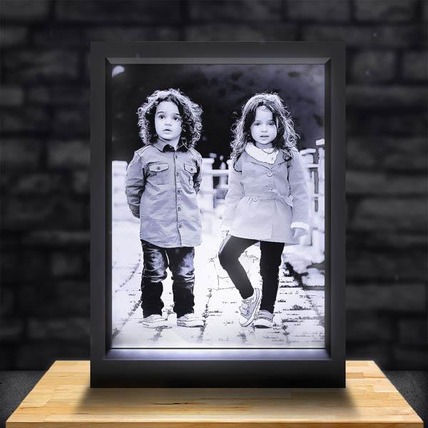 Cadre Photo Lumineux Noir