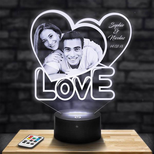 Lampe 3D personnalisée coeur love lampephoto.fr