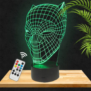 Lampe 3D Masque Black Panther lampephoto.fr
