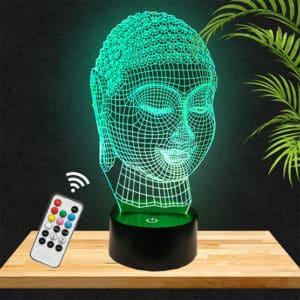 Lampe LED 3D Bouddha ethnique lampephoto.fr
