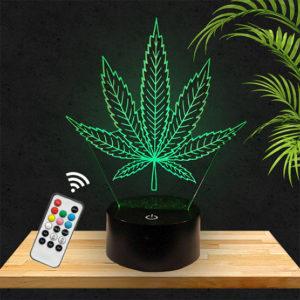 Lampe 3D Feuille de cannabis lampephoto.fr