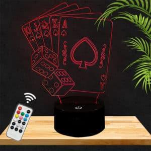 Lampe 3D cartes poker lampephoto.fr