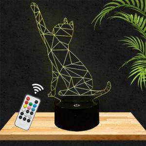 Lampe 3D Chat géométrique