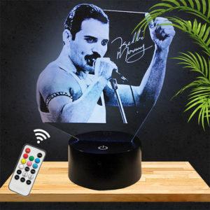 Lampe 3D Freddie Mercury/Queen lampephoto.fr