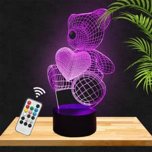 Lampe 3D ours coeur lampephoto.fr
