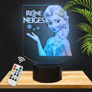 Lampe LED 3D La Reine des neiges snow queen lampephoto.fr