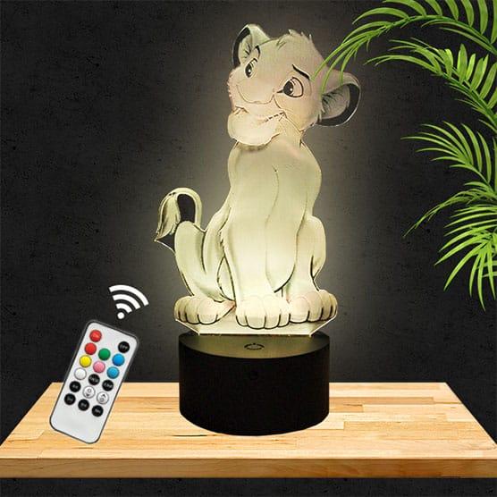 Lampe 3D Simba Roi Lion lampephoto.fr