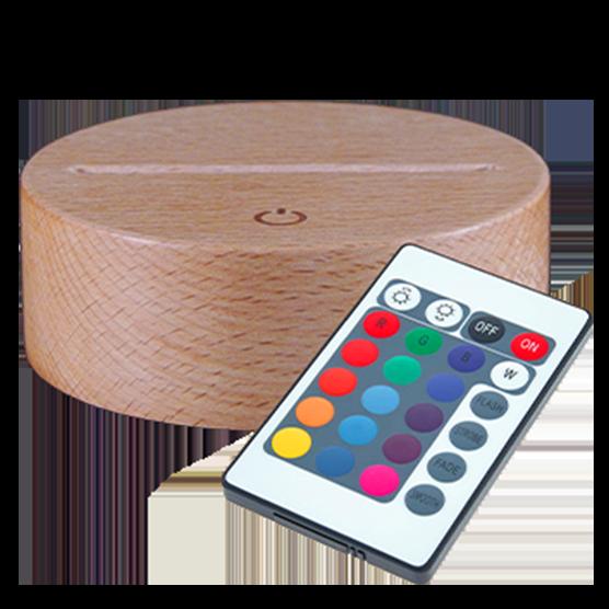 Socle en Bois Massif Tactile LED 7 couleurs (23€)