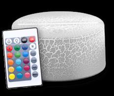 Socle Blanc craquelé transparent 16 couleurs tactile + télécommande (18€)