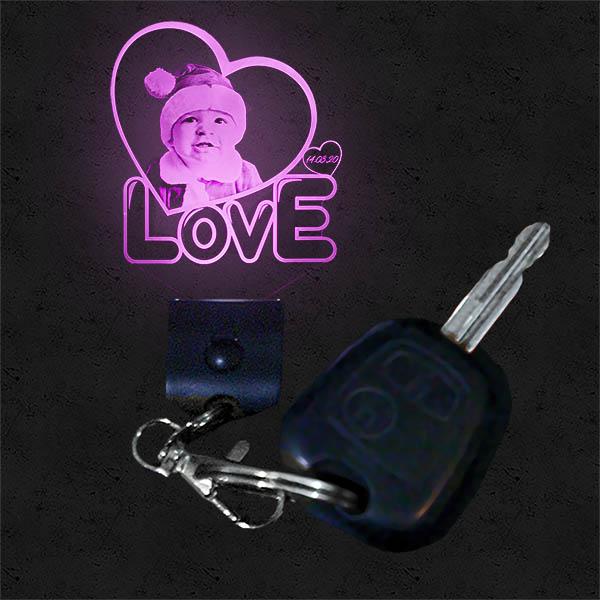 Porte Clef Lumineux Personnalisé Cœur Love