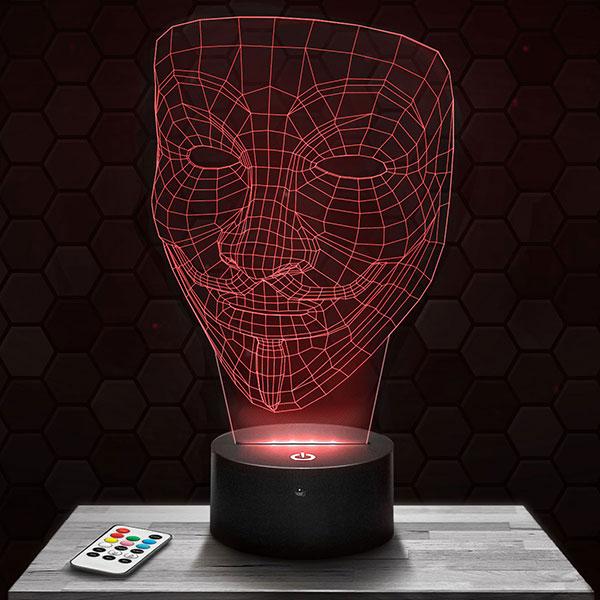 Lampe 3D Anonymous avec socle au choix !