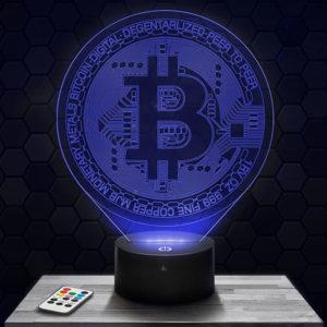 Lampe 3D Bitcoin avec socle au choix !