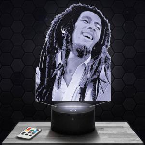 Lampe 3D Bob Marley avec socle au choix !