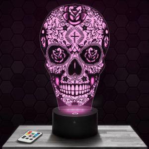 Lampe 3D Calavera avec socle au choix !