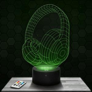 Lampe 3D Casque audio avec socle au choix !