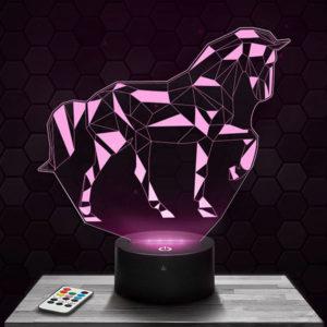 Lampe 3D Cheval Géométrique avec socle au choix !