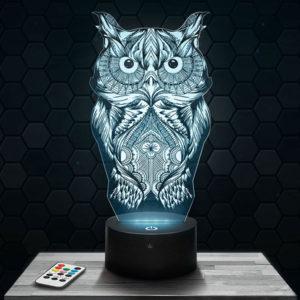 Lampe 3D Chouette avec socle au choix !