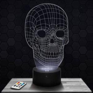 Lampe 3D Crâne avec socle au choix !