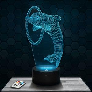 Lampe 3D Dauphin avec socle au choix !