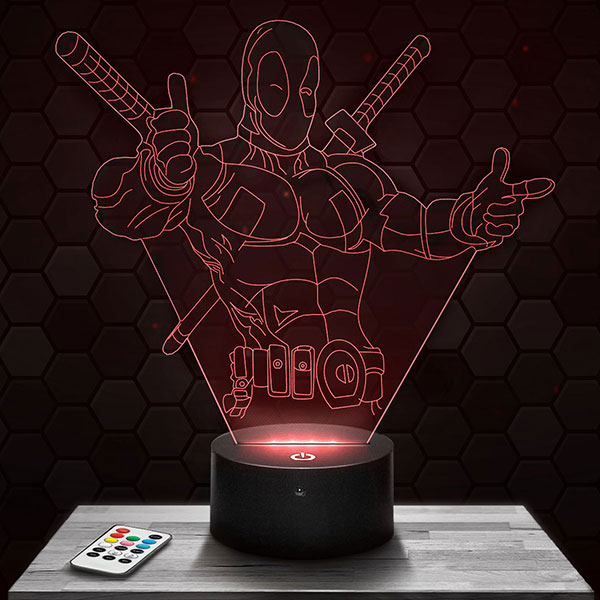 Lampe 3D Deadpool avec socle au choix !