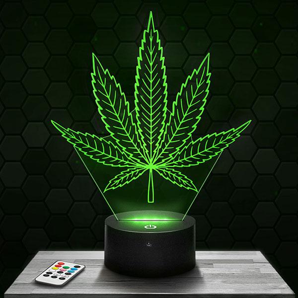 Lampe 3D Feuille de Cannabis avec socle au choix !