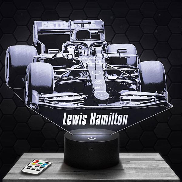 Lampe 3D Lewis Hamilton F1 Mercedes avec socle au choix !