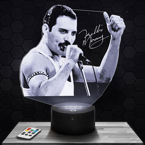 Lampe 3D Freddie Mercury / Queen avec socle au choix !