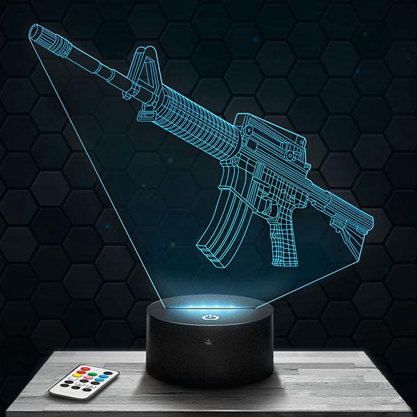 Lampe 3D Fusil d'Assaut M16 avec socle au choix !
