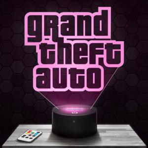 Lampe 3D Logo Grand Theft Auto avec socle au choix !