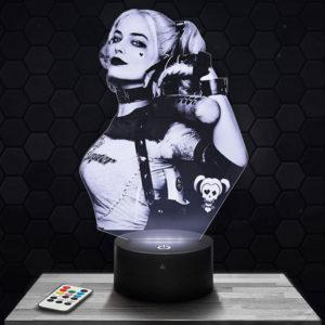 Lampe 3D Harley Quinn avec socle au choix !