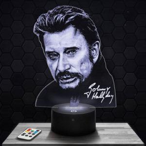 Lampe 3D Johnny Hallyday avec socle au choix !