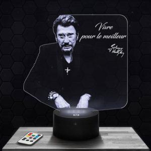 Lampe 3D Johnny Hallyday paroles avec socle au choix !
