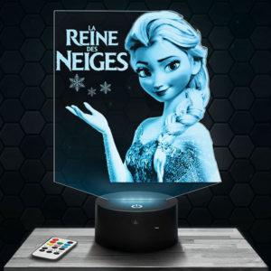 Lampe 3D La Reine des neiges avec socle au choix !