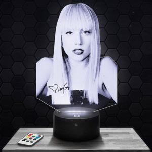 Lampe 3D Lady Gaga Modèle 2 avec socle au choix !