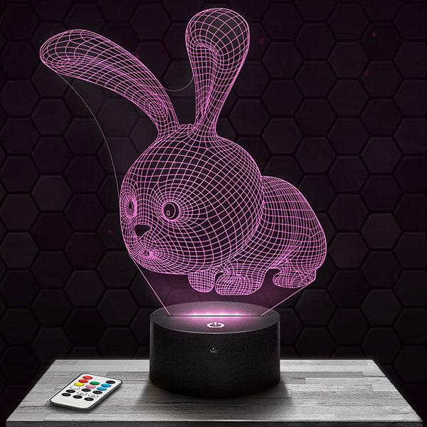 Lampe 3D Lapin Mignon avec socle au choix !