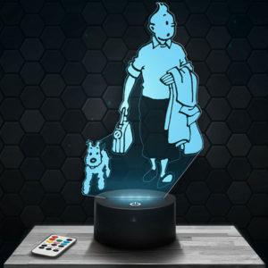 Lampe 3D Les aventures de Tintin avec socle au choix !