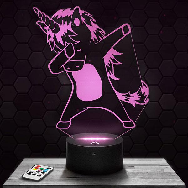 Lampe 3D Licorne DAB avec socle au choix !