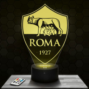 Lampe 3D Logo AS Roma avec socle au choix !