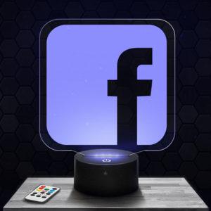 Lampe 3D Logo Facebook avec socle au choix !