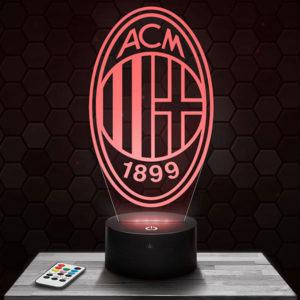 Lampe 3D Logo Milan AC avec socle au choix !