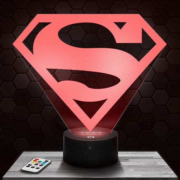 Lampe 3D Logo Superman avec socle au choix !