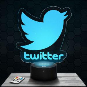Lampe 3D Logo Twitter avec socle au choix !
