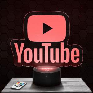 Lampe 3D Logo Youtube avec socle au choix !