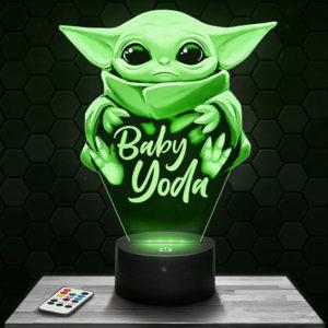 Lampe 3D Mandalorian - Bébé Yoda avec socle au choix !
