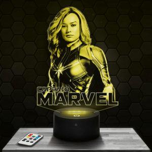 Lampe 3D Marvel - Captain Marvel avec socle au choix !