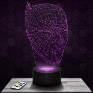 Lampe 3D Masque Black Panther avec socle au choix !