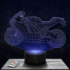Lampe 3D Moto Sportive avec socle au choix !
