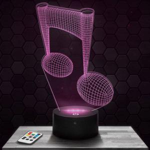 Lampe 3D Note Musique avec socle au choix !