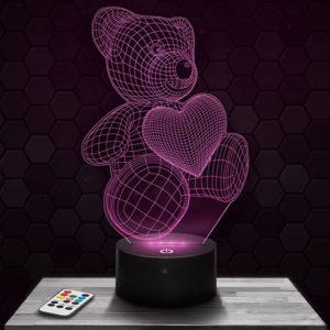 Lampe 3D Ours Cœur avec socle au choix !