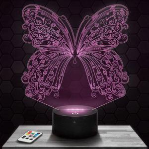 Lampe 3D Papillon avec socle au choix !